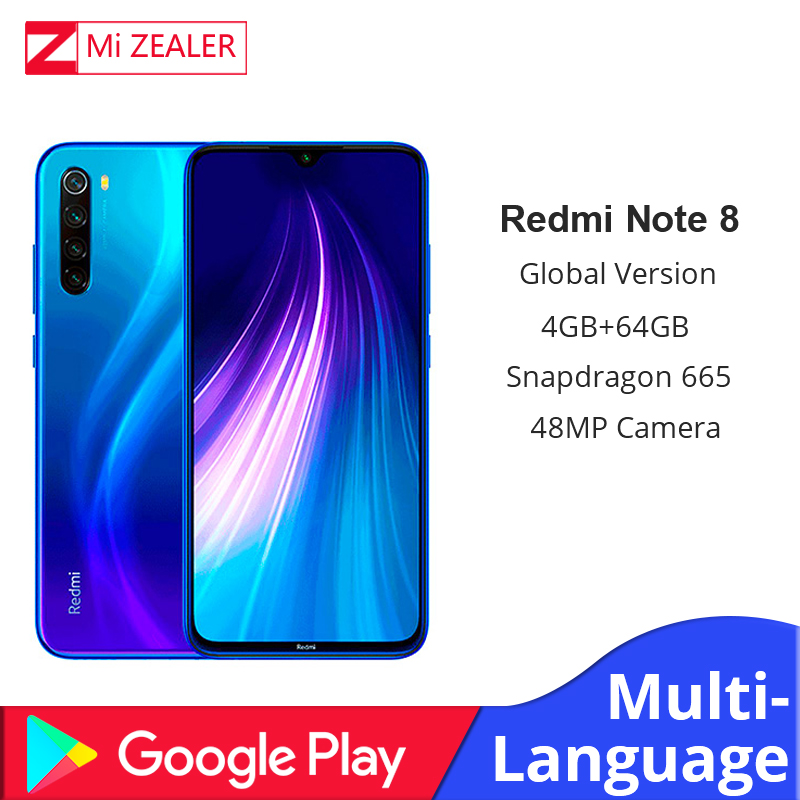 Global Version Xiaomi Redm Note 8 4GB RAM 64GB ROM Octa Core Smartphone Snapdragon 665 48MP Fast Charger Cellphone