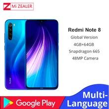 Globale Versione Xiaomi Redm Nota 8 4GB di RAM 64GB ROM Octa Core Per Smartphone Snapdragon 665 48MP Fast Charger cellulare