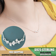 цена на Leaf shape S925 Sterling Silver Necklace for Women Pendant Necklace Fashion Jewelry Accessories Wholesale A202