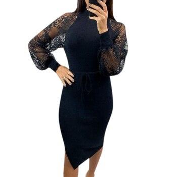 Vestido de oficina para mujer bordado de encaje suéter de primavera vestido de vendaje de cuello alto Vintage para mujer color sólido vestidos delgados vestidos D30