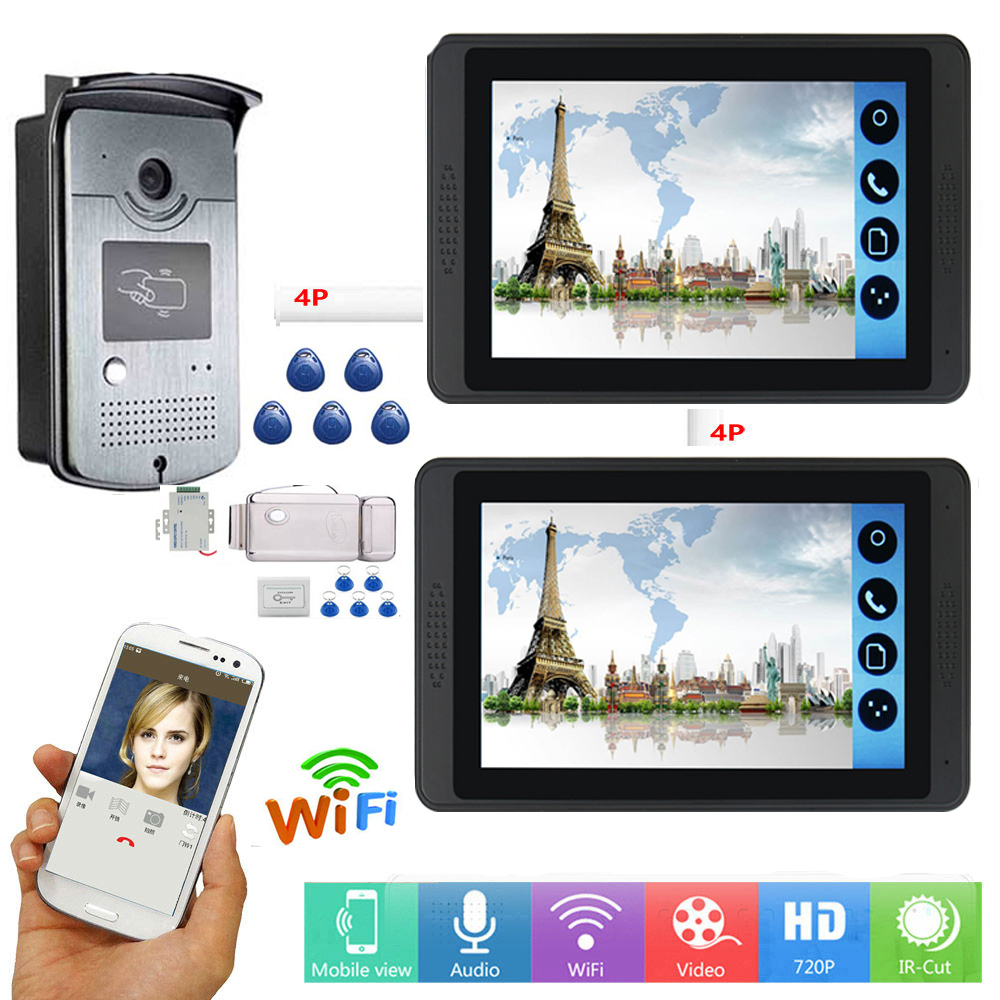 Wired wifi 7inch Monitor Video Door Phone Doorbell Video Intercom Entry System + IR RFID Camera + Android Ios APP Remote FREE SH image