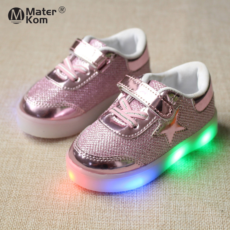 Size 21-30 Kids Shoes With Led Lights Children Girls Boys Running Glowing Sneakers Shining Sole Toddler Shoes For Little Baby