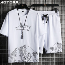 Conjunto de calções 2021 verão moda impressão camiseta + shorts 2 peças terno masculino retalhos casual conjunto verão jogger treino