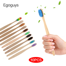 10PCS Bamboo Handle Toothbrush Charcoal Eco Friendly Soft Bristle Wooden Tooth Brush Portable Travel Oral Cleaning Care Brushes