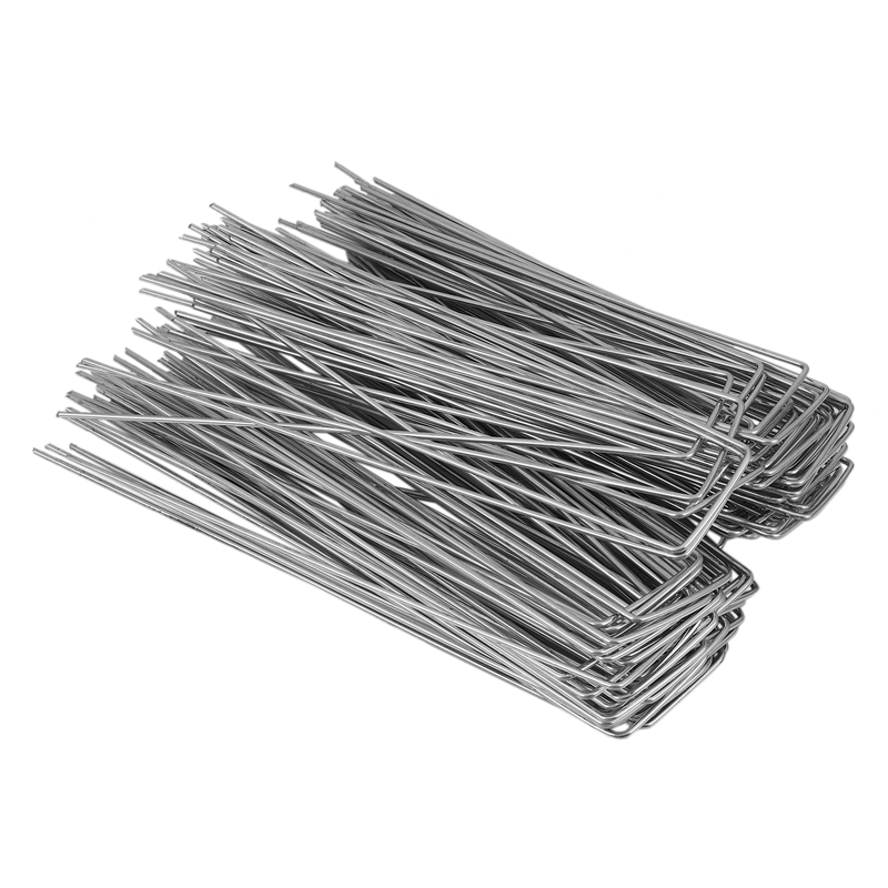 100Pcs Heavy Duty U Shape Gauge Galvanized Steel Garden Stakes Staple Securing Pegs for Securing Fabric Landscape Fabric Netting