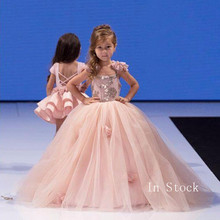 Flower Girl Dresses Tulle Formal Long Beaded Pageant Gowns For Girls Floor Length princess flower girl dresses pageant dresses for girls jewel neckline applique flower girl dress floor length girl pageant gowns