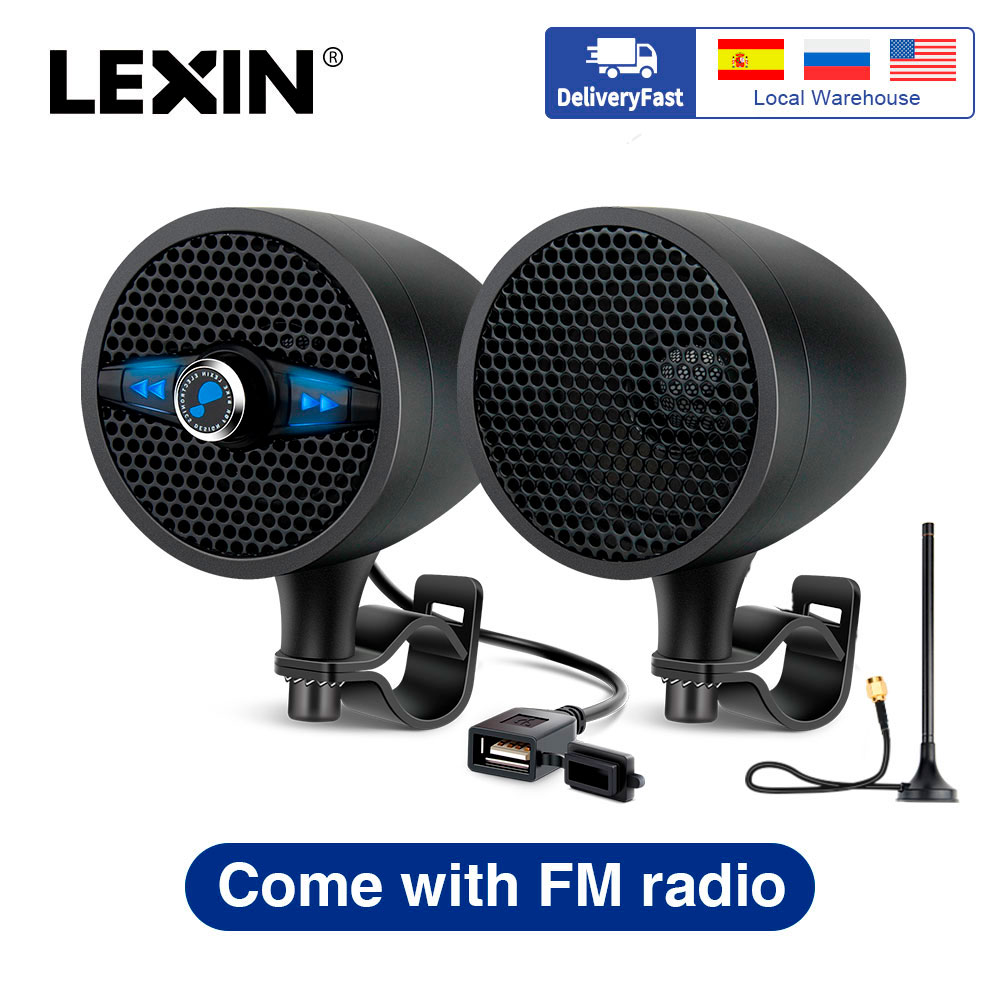 Lexin LX-S3 Super Music Audio Player with FM Radio Tuner Bluetooth Speakers for Motorcycle Waterproof Portable Stereo