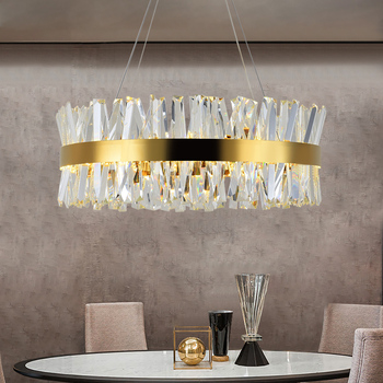 Gold Crystal Bedroom Chandelier Lighting Round Chrome led Chandeliers for Living Room Dining Room in the Hall Hallway Home Decor