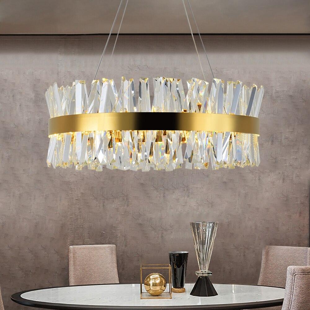 Lustre moderne pour chambre ronde or/Chrome cristal led lustres pour salon salle à manger Hall couloir lampe de décoration intérieure