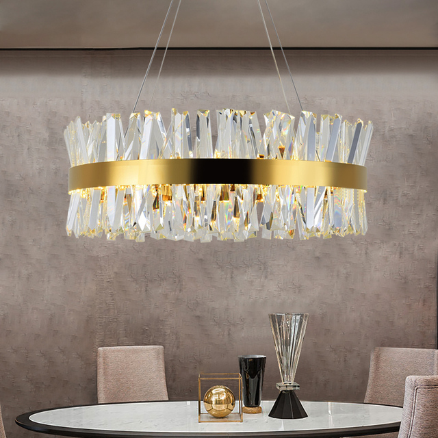 Modern Chandelier for Bedroom Round Gold/Chrome Crystal led Chandeliers for Living Room Dining Room Hall Hallway Home Decor Lamp