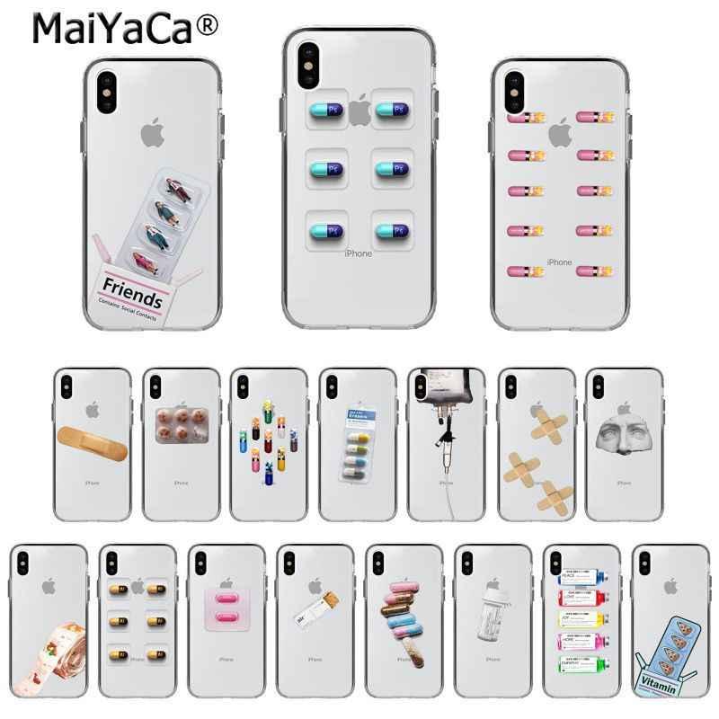 Maiyaca cápsula de pílula de droga médica transparente recém chegou caso de telefone para apple iphone 11 pro 8 7 66 s mais x xs max 5S se xr