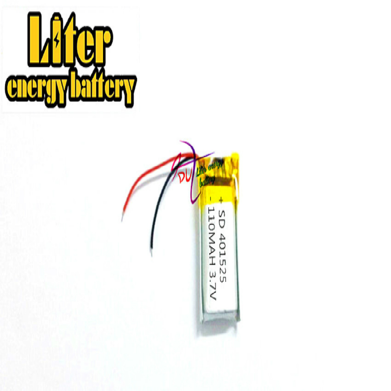 3.7V 110mAh 401225 <font><b>401025</b></font> 401525 Lithium Polymer LiPo Rechargeable Battery li ion For Mp3 PAD image