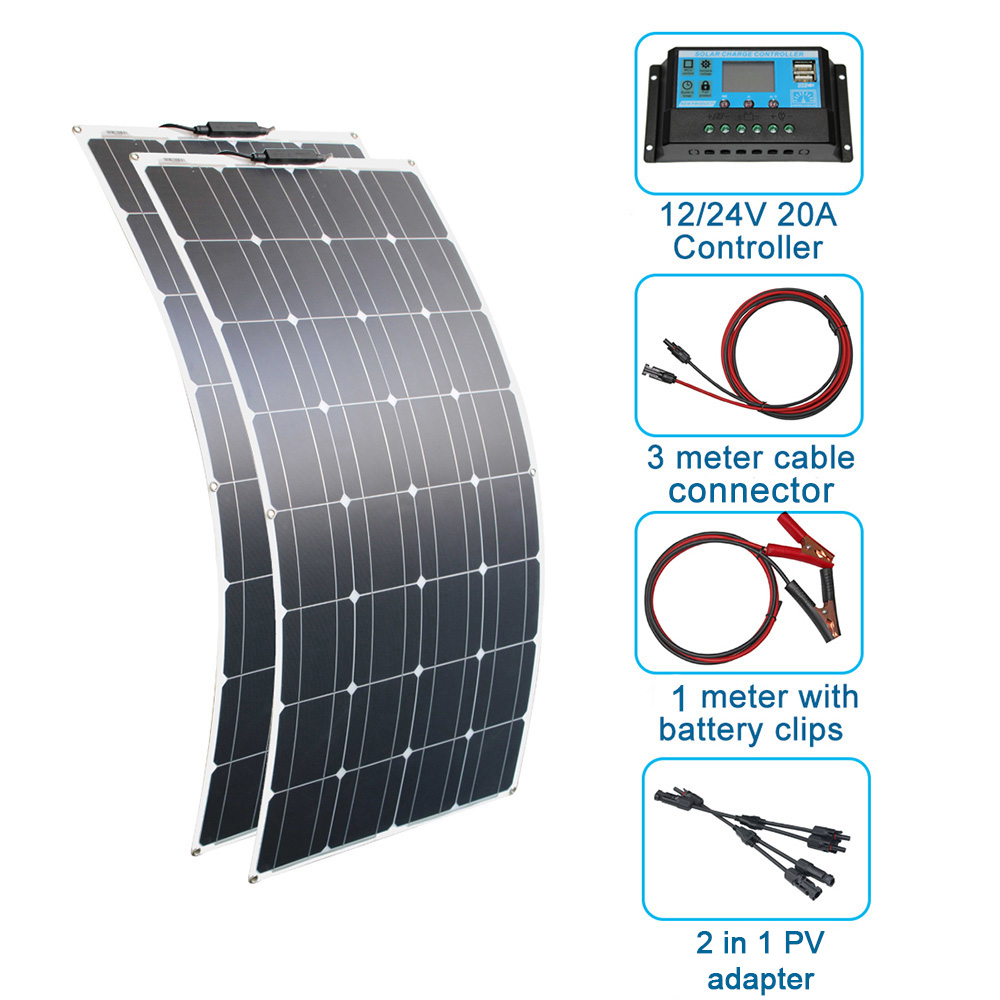 RG 200w <font><b>Solar</b></font> <font><b>Panel</b></font> System 2PCS100W Flexible <font><b>solar</b></font> <font><b>panel</b></font> <font><b>100</b></font> <font><b>w</b></font> <font><b>12</b></font> volt 24 <font><b>v</b></font> Controller Photovoltaic wholesale pricing image