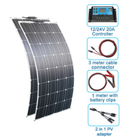 RG 200w Solar Panel System 2PCS100W Flexible solar panel 100 w 12 volt 24 v Controller Photovoltaic wholesale pricing