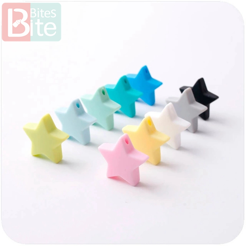 Bite Bite 10PC 23mm Colorful Silicone Star BPA Free Silicone Teether DIY Crafts Baby Accessories Silicone Beads Baby Teether Toy