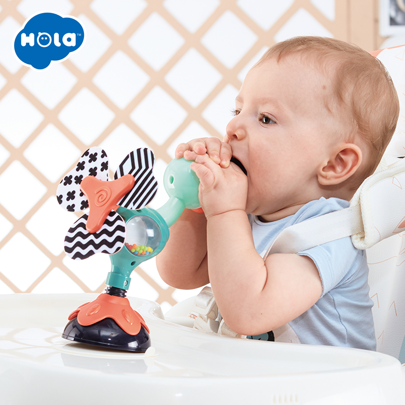 HOLA 3150C Baby Rattle Baby High Chair Toy For Newborns Toddler 6 Months Silicone Table Suckers Toy For Babies Kids Learning Toy
