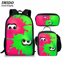 IMIDO 3pcs/set School Bags Splatoon 2 Backpacks For Boy Girls Casual Game Printed Backpacks Sets Splatoon Bag School Gift 2020 splatoon