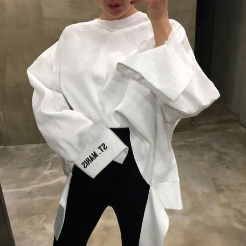 Harajuku Female Tshirt Loose Japanese Style Fashion Women Chic Ladies Streetwear Spring Sweatshirt White Black Red Tops