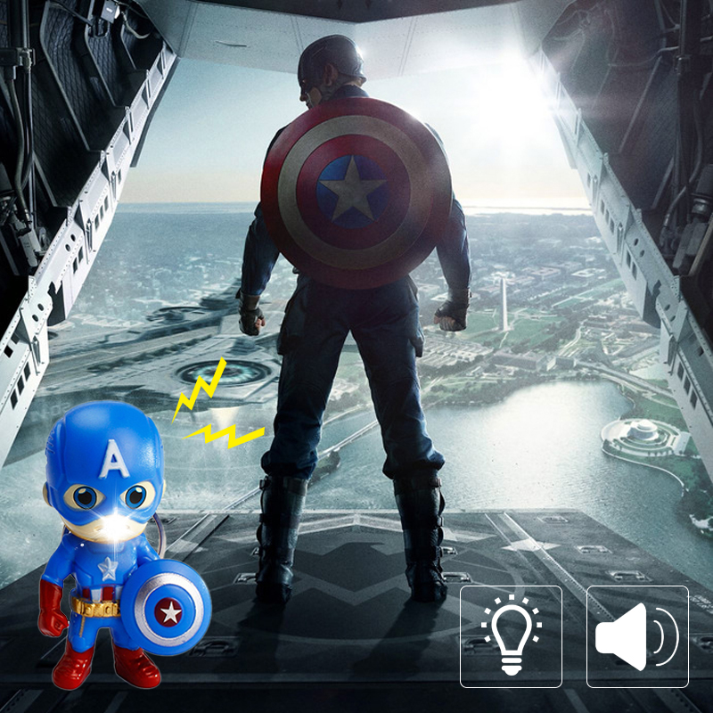 Avengers Superhero Captain America With Shield LED Keychain,Sound Key Rings Man Cool Flashlight Car Keychain Children's Gift