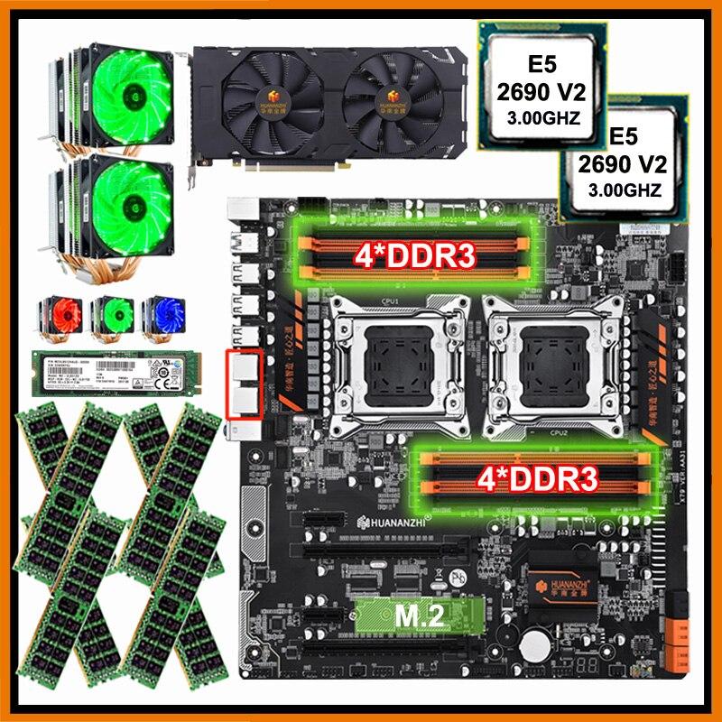 HUANANZHI dual X79 материнская плата с 512G Накопитель SSD с протоколом NVME двойной процессор Xeon E5 2690 V2 с охладителями ram 128G (8*16G) видеокарта GTX1660TI 6G
