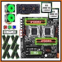 HUANANZHI dual X79 motherboard mit 512G NVMe SSD dual CPU Xeon E5 2690 V2 mit kühler RAM 128G (8*16G) video karte GTX1660TI 6G