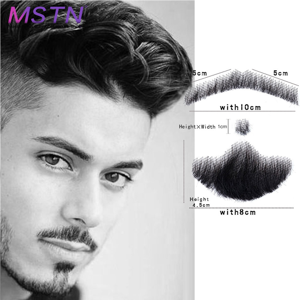 MSTN Brazilian Lace Invisible Fake Beards SalonChat Lace Beard For Men 100%Human Hair Hand Made Mustache Remy Hair Cosplay Swiss image