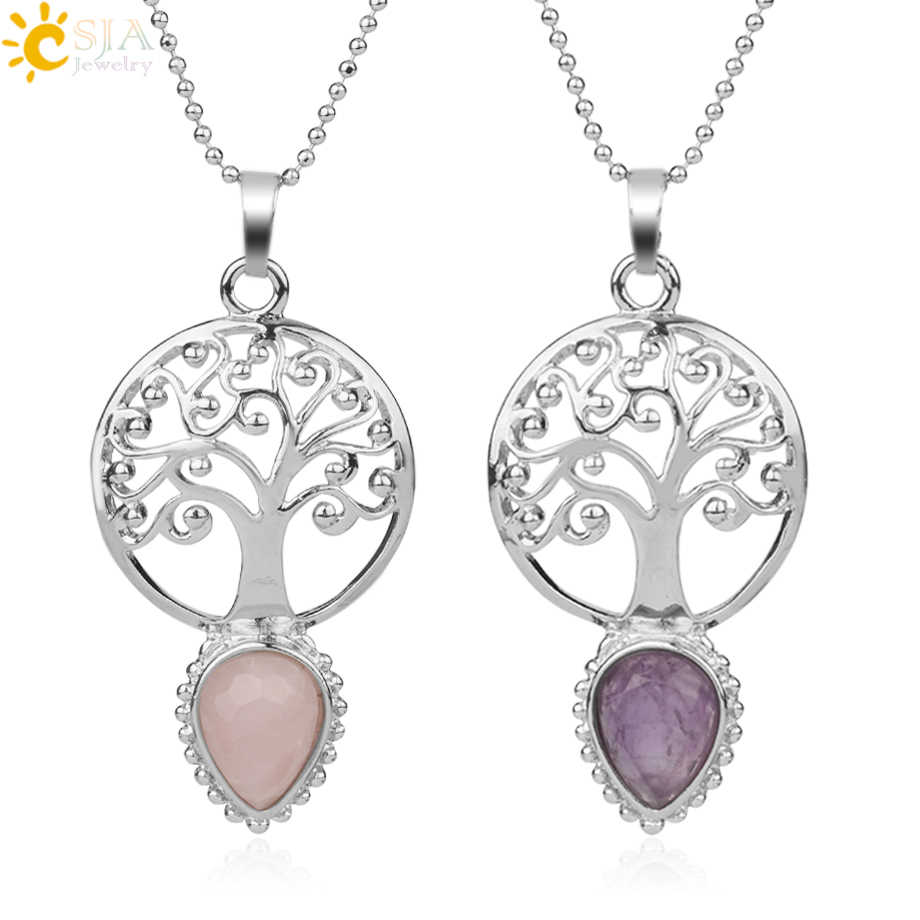 CSJA Tree of Life Faceted Natural Stone Water Drop Pendants Necklaces Yoga Healing Crystal Beads for Women Fashion Jewelry G167