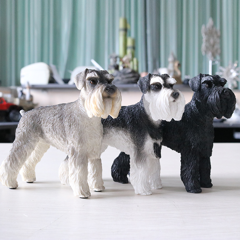 Fashion Decoration Crafts Figurines Miniatures German Schnauzer Dog Articles Murals Accessories Dog Models Figurines Miniatures|Figurines & Miniatures| |  - title=