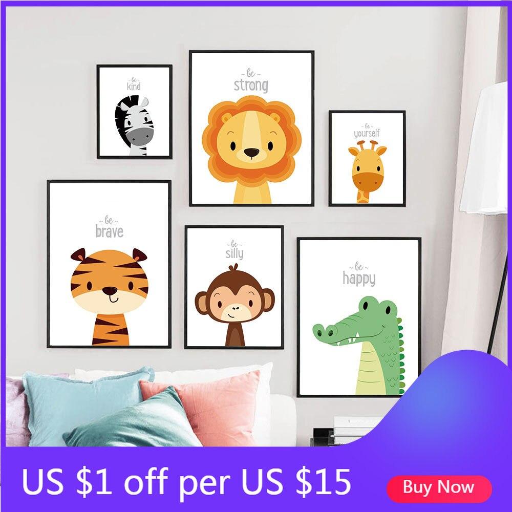 Lion zèbre girafe toile impression bébé animaux affiche pépinière mur Art peinture nordique décoratif photo enfants garçon chambre décoration murale