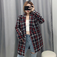 Women Fashion Tweed Red Plaid Za Long Jacket 2019 Autumn winter Female Long Sleeve V neck Warm Loose Jackets Outwear veste femme