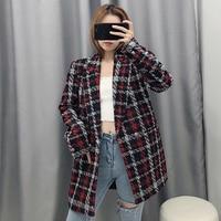 Women Fashion Tweed Red Plaid Za Long Jacket 2019 Autumn winter Female Long Sleeve V neck Warm Loose Jackets Outwear veste femme