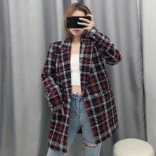Women Fashion Tweed Red Plaid Za Long Jacket 2019 Autumn-winter Female Long Slee