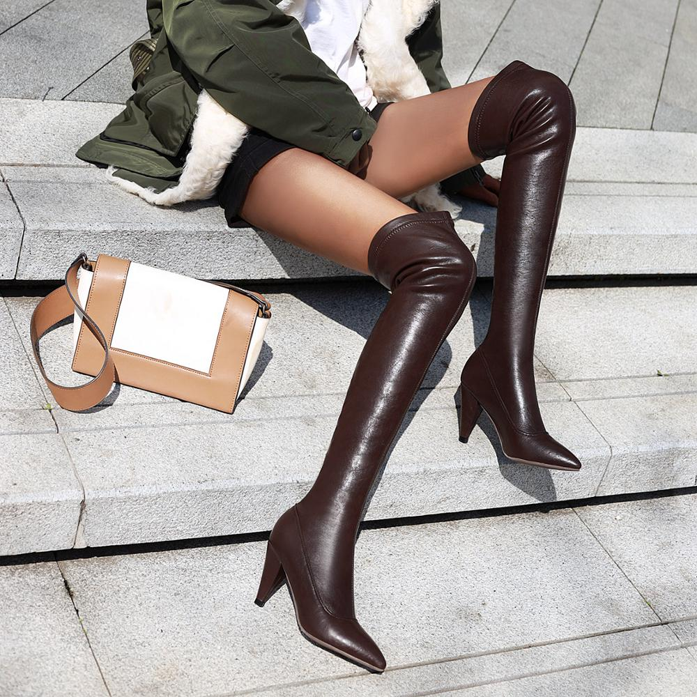 Women Toe over the knee boots Ladies Autumn winter High heels boots Sexy thigh high boots botas mujer black beige Boots Women 39