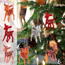 FENGRISE 3PCS/lot Glitter Plastic Christmas Deer Decoration For Home Ornaments 2020 New Years Gift Kids