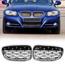 VODOOL Links Rechts Verchromte Diamant Niere Grill für BMW E90 E91 3 Serie Facelift Doppel Lamellen Sport Stil Glanz schwarz
