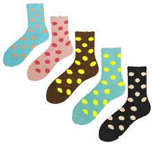 Зимние теплые бархатные женские носки в горошек Мягкие и удобные
