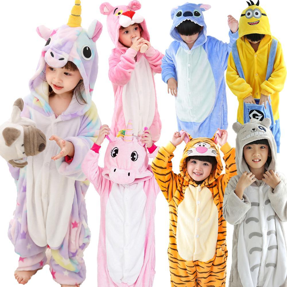Children Flannel Pajamas Kids Winter Sleepwear Boys Onesies Girl Pajama Set Kigurumi Unicorn Pikachu Panda Giraffe Animal Pyjama