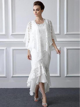 2020 New Amazing High Low White Lace Mother of the Bride Dresses With Shawl Jewel Neck Mother of Groom Gowns Sleeveless