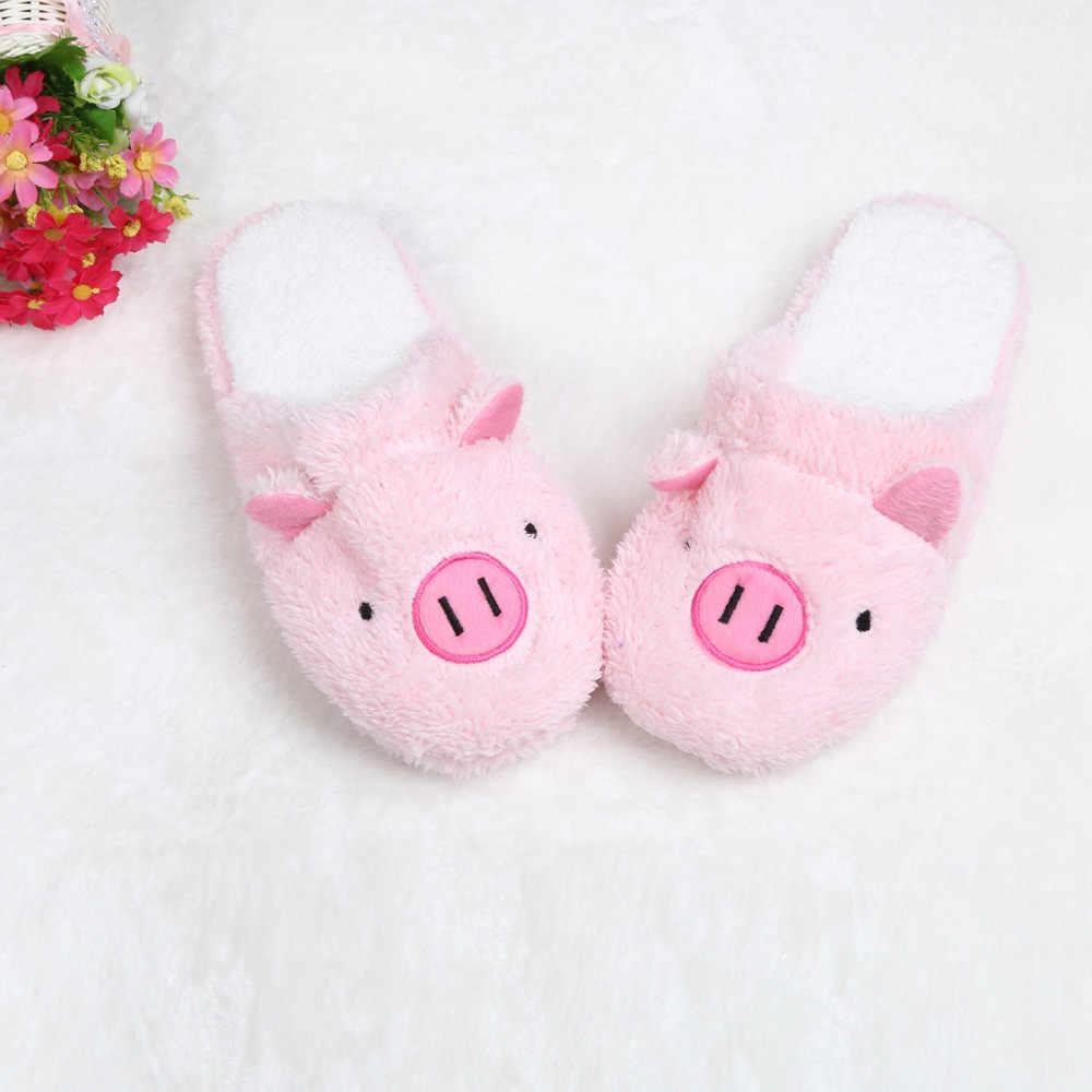 Kadın terlik ev ayakkabı kadınlar için Chinelos Pantufas Adulto moda güzel ayı domuz kapalı ev terlikleri kürk ile yeni kış