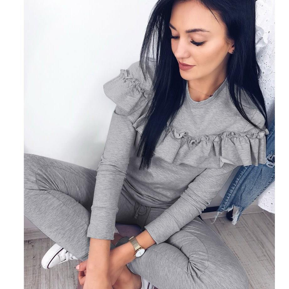 Women Sexy O Neck Tops   Long Grey Pants 2 Piece Set Female Women Casual 2 Pieces Sets Tracksuits