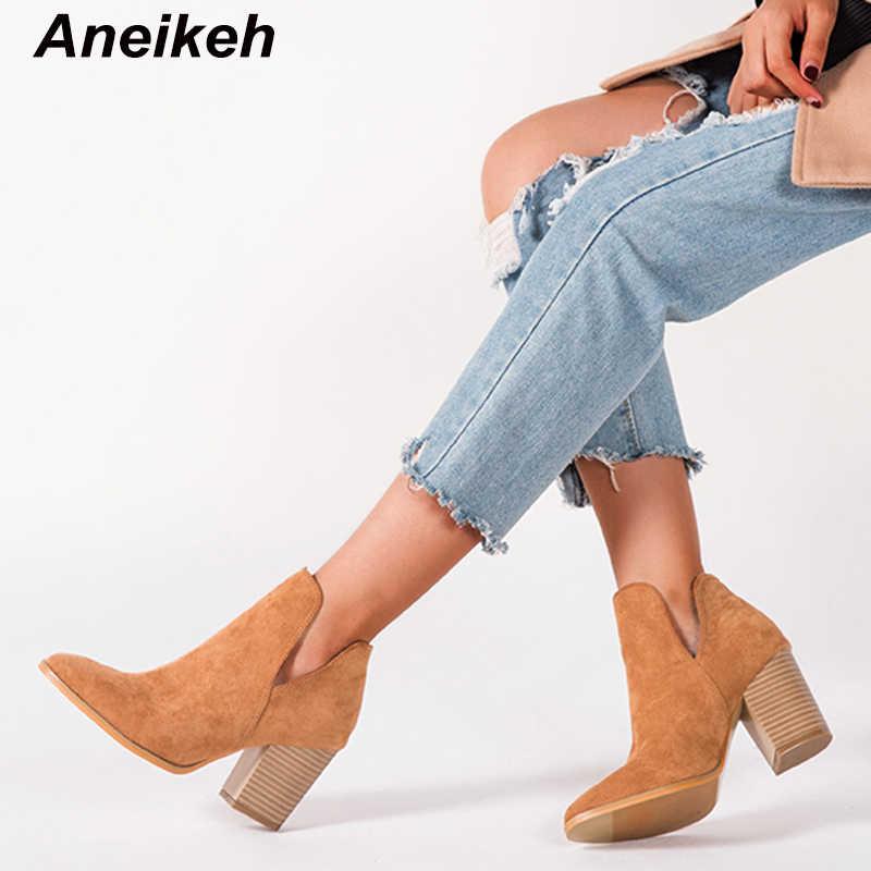 Aneikeh moda akın ayakkabı kadın Cossacks bot ayakkabı tıknaz kare yüksek topuklu V ağız Chelsea bileğe kadar bot batı iş boyutu 43