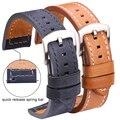 Ремешок из воловьей кожи для мужских и женских часов, быстросъемный винтажный браслет из натуральной кожи для Samsung Gear S3, 18 20 22 24 мм