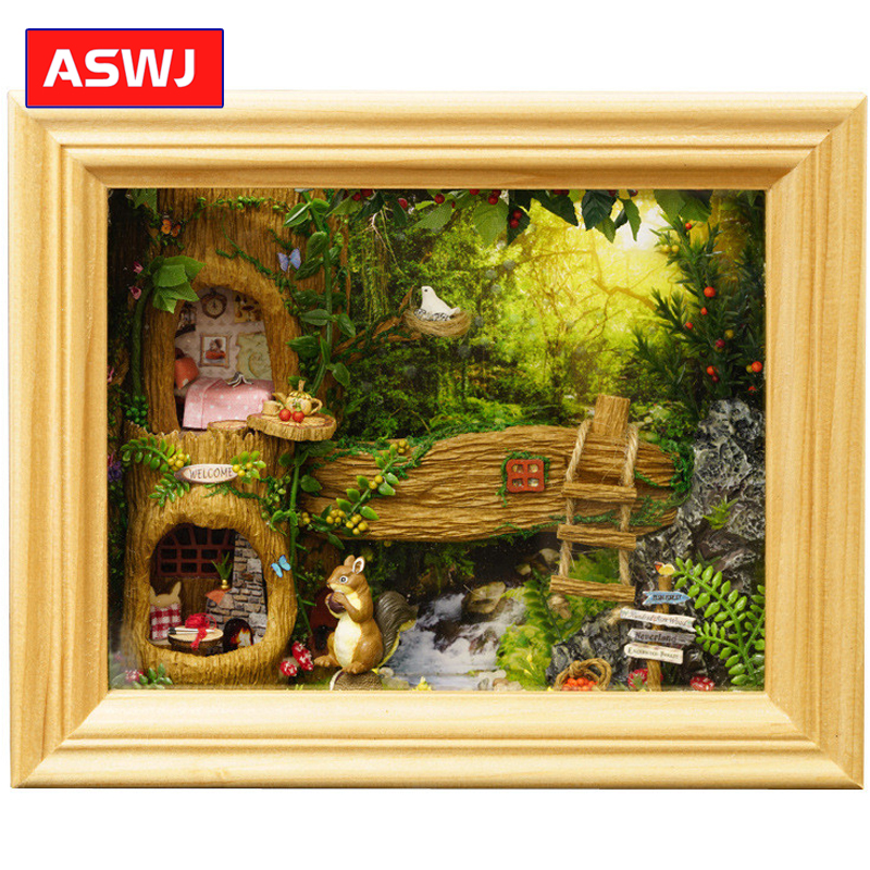 DIY Doll House Frame Miniature With Furniture Model Building Kits Wooden Dollhouse Miniaturas Toys For Children Birthday Gifts