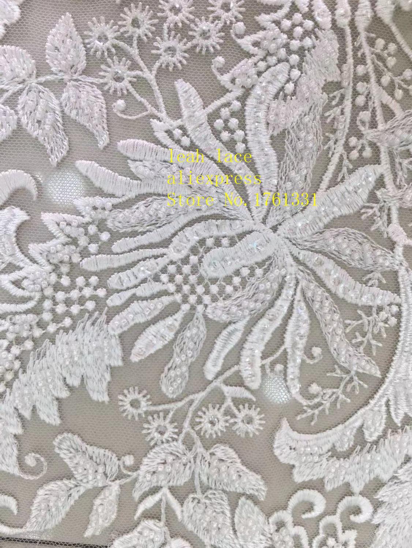 5 yards/sac blanc broderie paillettes bricolage perles style euraméricain tissus de luxe utilisés dans la conception de la robe de mariée FH16 #