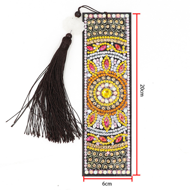 HUACAN 5D Special Shaped Diamond Painting Bookmark Embroidery Cross Stitch Leather Tassel Book Marks Diamond Art