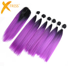 Ombre Purple Red Color Hair Bundles With Lace Closure 14-18inch X-TRESS Yaki Straight Synthetic Bundle Hair Weaving Extensions(China)
