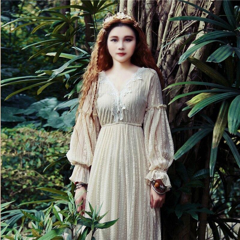 Original Design AIGYPTOS Spring Women Dress Vintage Elegant Slim Lace Maxi Dresses Sweet Casual Loose Fairy Long Dress Clothes