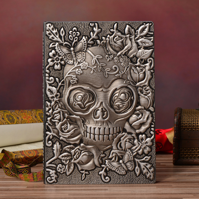 All Saints' Day Floral Skull Diary Book Hardcover Lined Paper Notebook 200P A5 DIY Planner Journal Gift Office Stationery