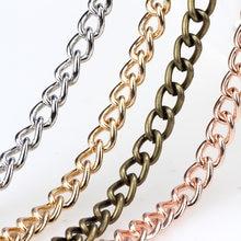 Collar de oro rosa para hombres y mujeres, pulsera de Metal Punk, oro, rodio, bronce, cadena cubana, fabricación de joyería, 6x8MM, 1 m/lote