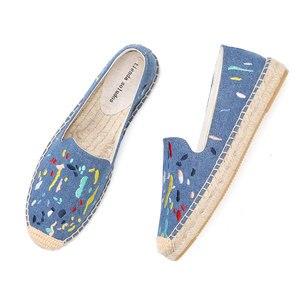 Image 1 - 2020 Denim Echte Nieuwe Schoenen 2019 Espadrilles Sapatos Zapatillas Mujer Platform Dame Slippers Voor Lente Flats Schoenen Mode